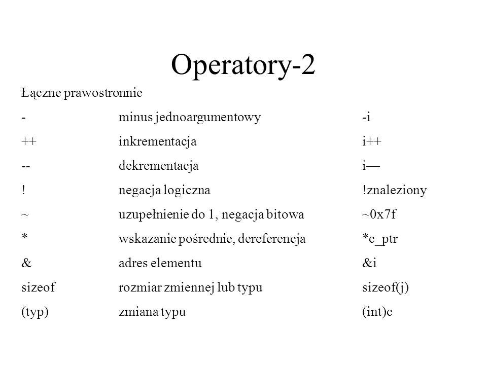 Operatory-2 Łączne prawostronnie - minus jednoargumentowy -i