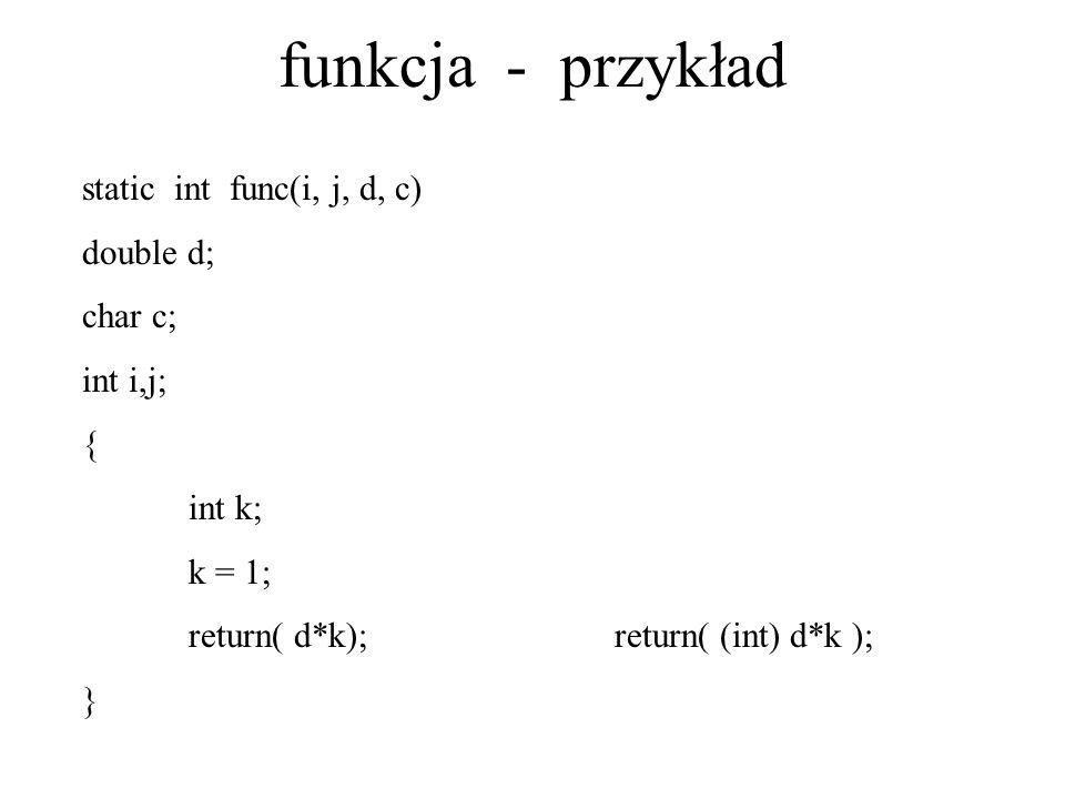 funkcja - przykład static int func(i, j, d, c) double d; char c;