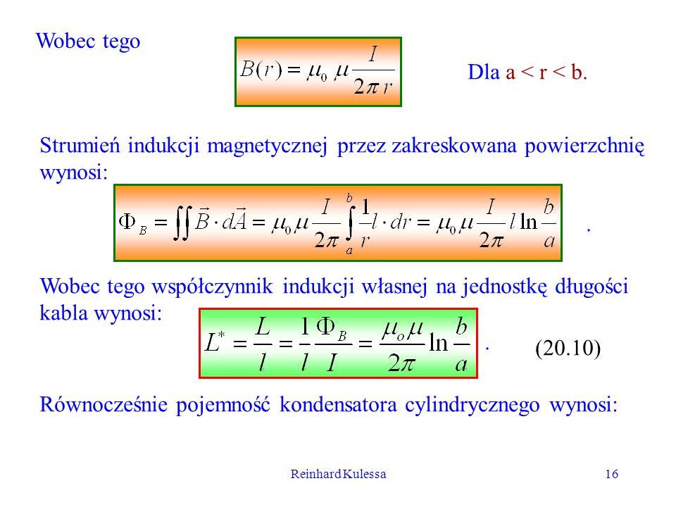 Strumień indukcji magnetycznej przez zakreskowana powierzchnię wynosi: