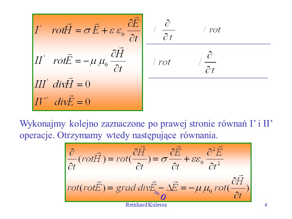 Wykonajmy kolejno zaznaczone po prawej stronie równań I' i II' operacje. Otrzymamy wtedy następujące równania.