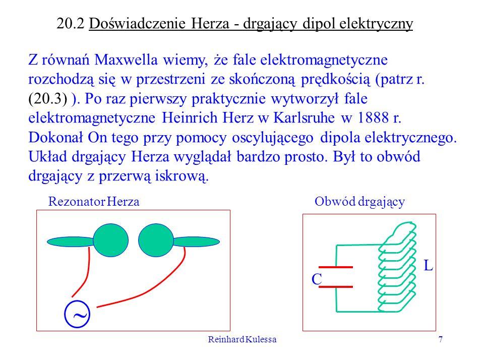 20.2 Doświadczenie Herza - drgający dipol elektryczny