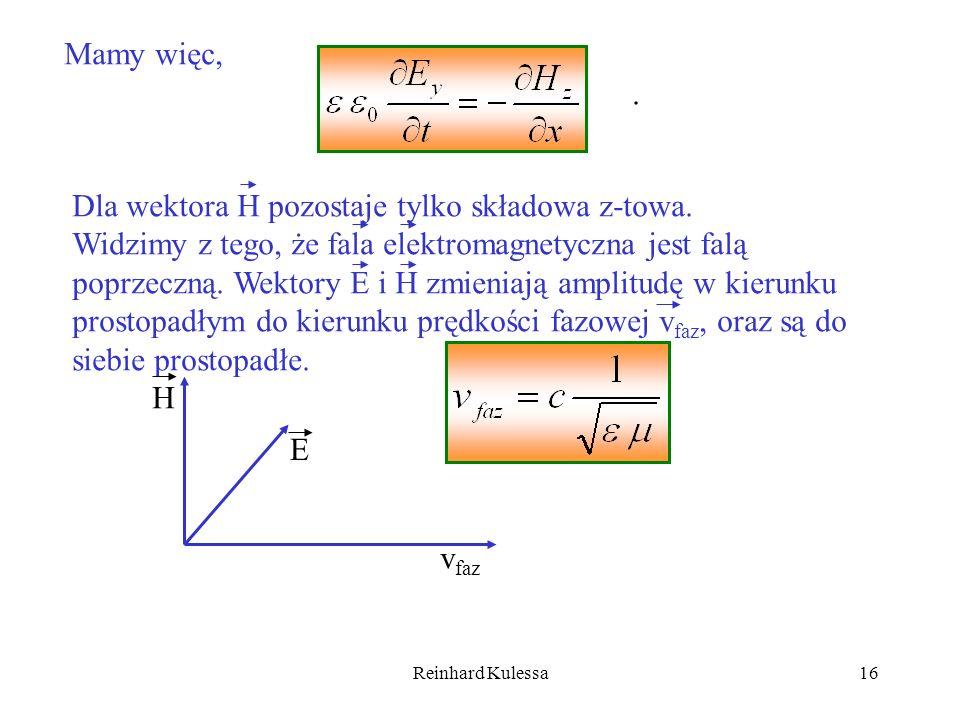 Dla wektora H pozostaje tylko składowa z-towa.