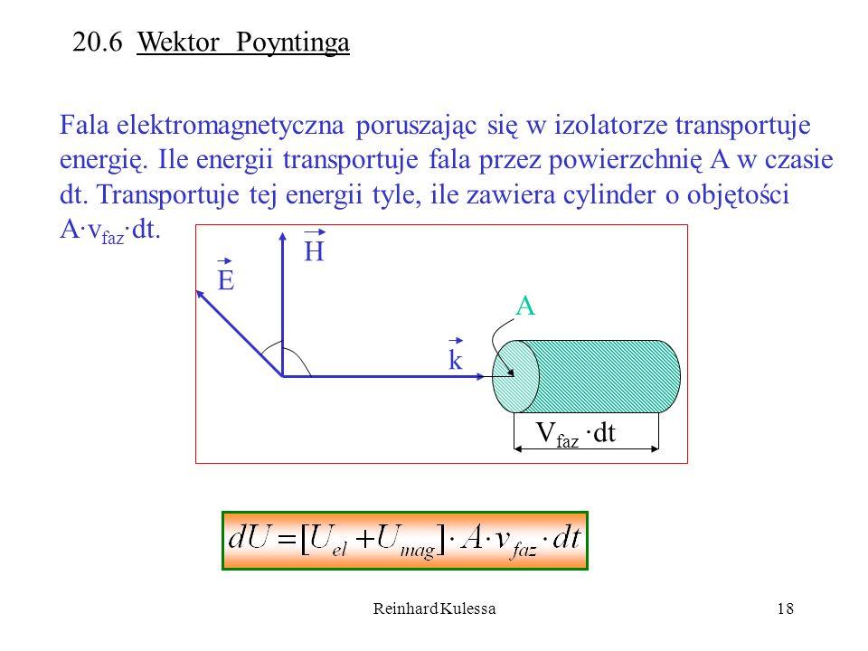 Fala elektromagnetyczna poruszając się w izolatorze transportuje