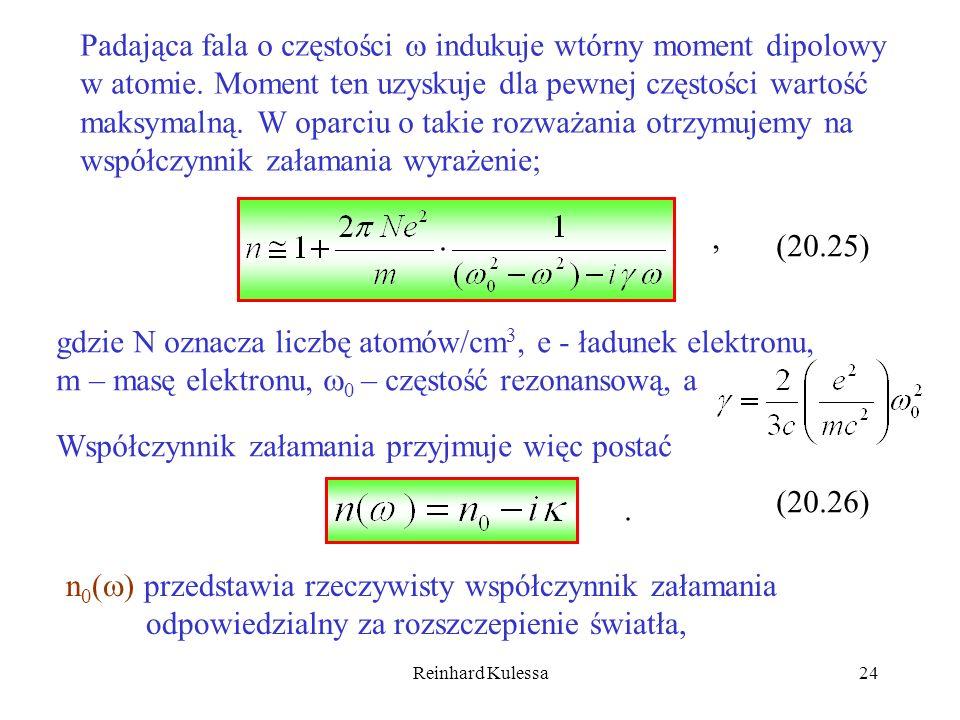 Padająca fala o częstości  indukuje wtórny moment dipolowy