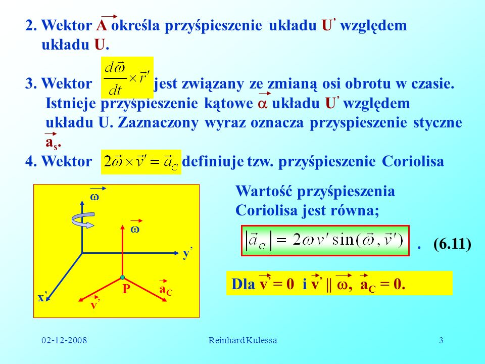 2. Wektor A określa przyśpieszenie układu U' względem układu U.