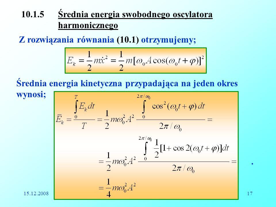 10.1.5 Średnia energia swobodnego oscylatora harmonicznego