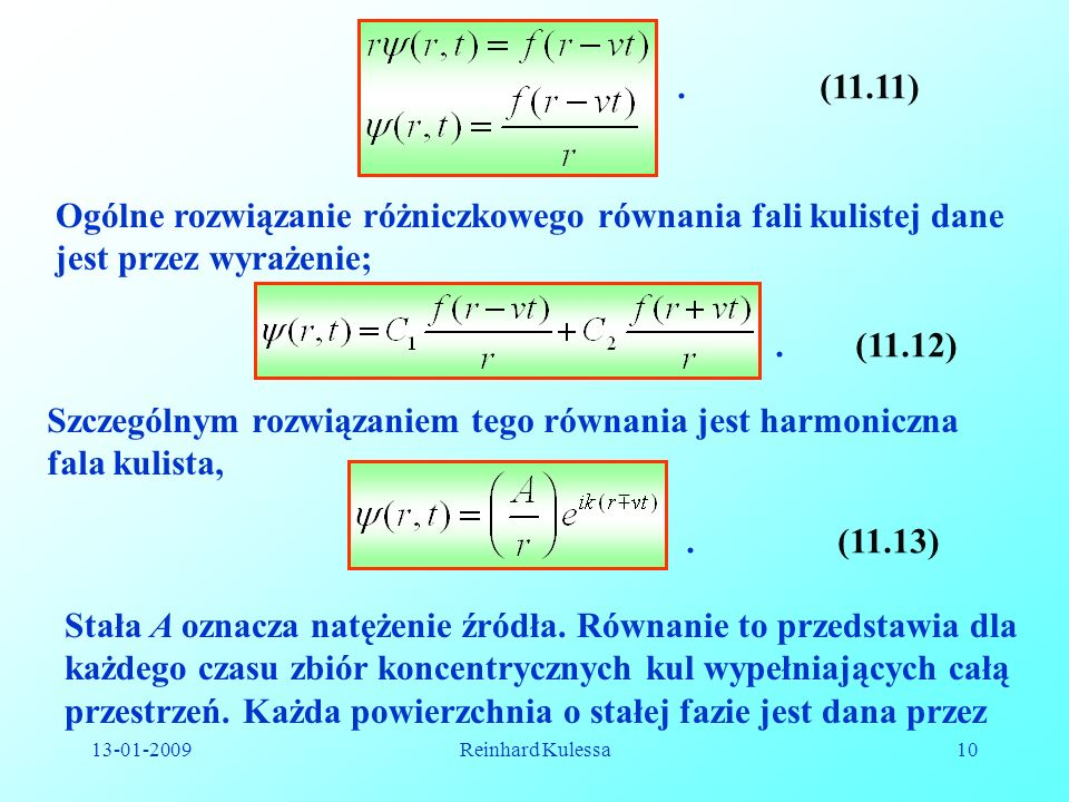Ogólne rozwiązanie różniczkowego równania fali kulistej dane
