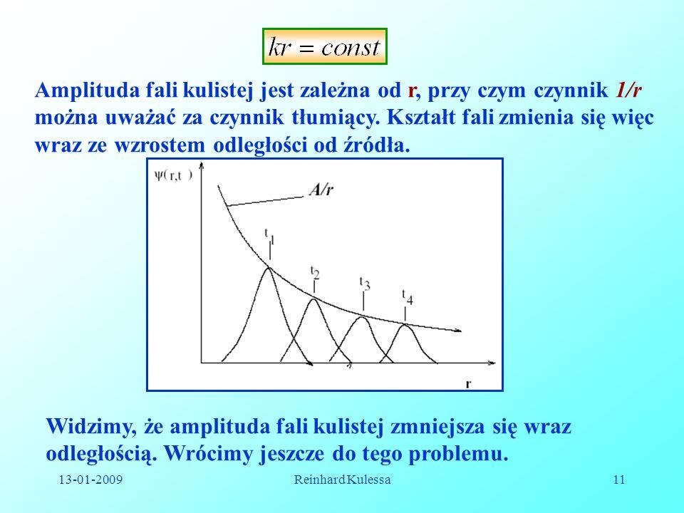 Amplituda fali kulistej jest zależna od r, przy czym czynnik 1/r