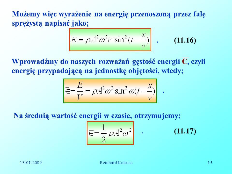 Na średnią wartość energii w czasie, otrzymujemy;