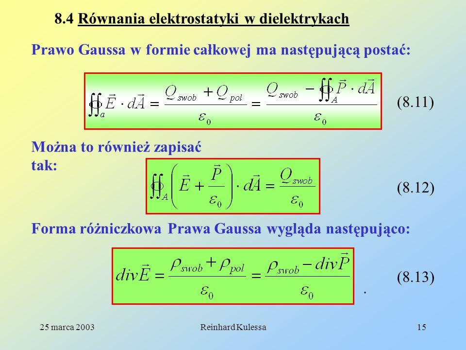 8.4 Równania elektrostatyki w dielektrykach