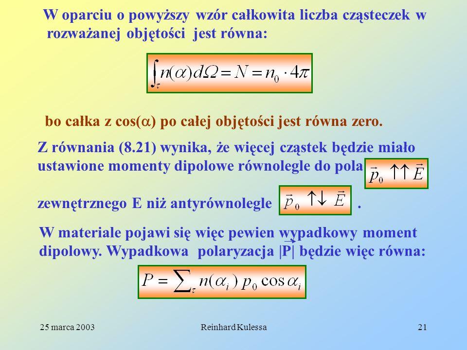 W oparciu o powyższy wzór całkowita liczba cząsteczek w