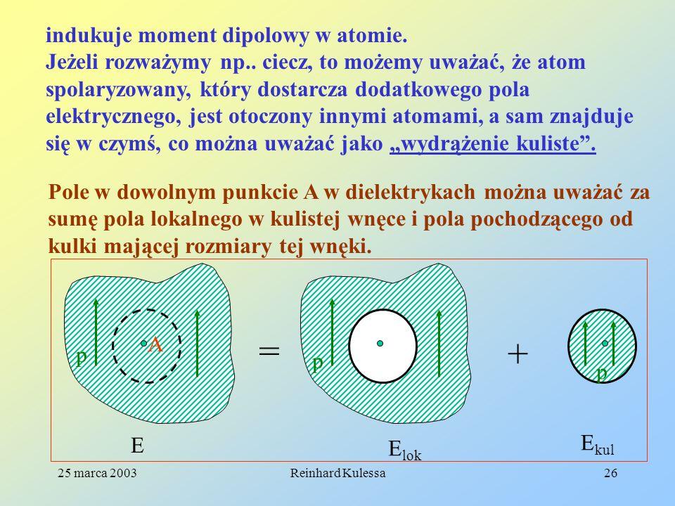 = + indukuje moment dipolowy w atomie.