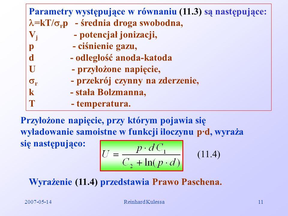 Parametry występujące w równaniu (11.3) są następujące: