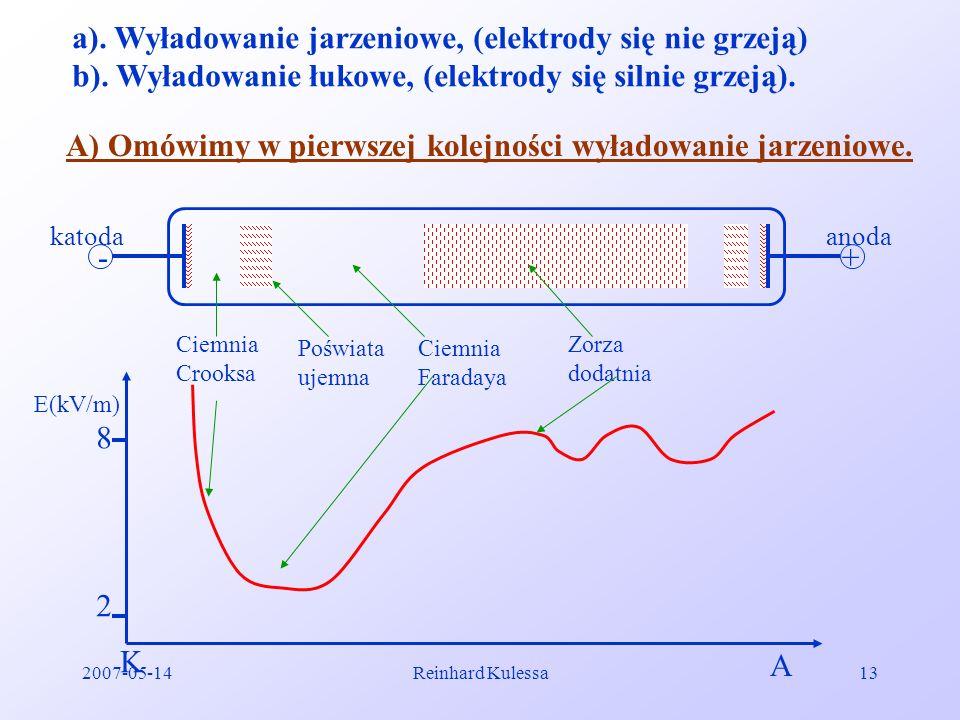 a). Wyładowanie jarzeniowe, (elektrody się nie grzeją)