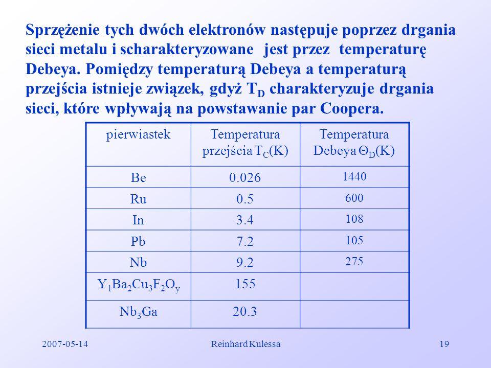 Sprzężenie tych dwóch elektronów następuje poprzez drgania sieci metalu i scharakteryzowane jest przez temperaturę Debeya. Pomiędzy temperaturą Debeya a temperaturą przejścia istnieje związek, gdyż TD charakteryzuje drgania sieci, które wpływają na powstawanie par Coopera.