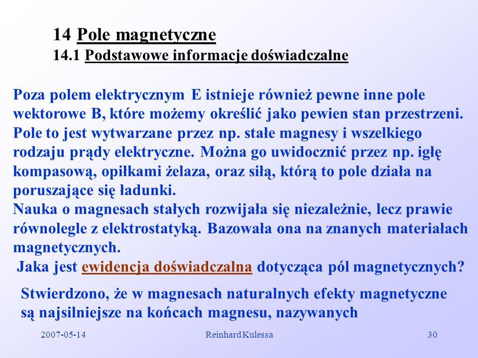 Pole magnetyczne 14.1 Podstawowe informacje doświadczalne