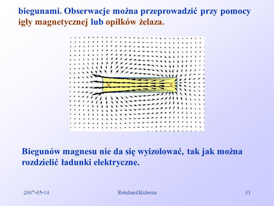 biegunami. Obserwacje można przeprowadzić przy pomocy igły magnetycznej lub opiłków żelaza.