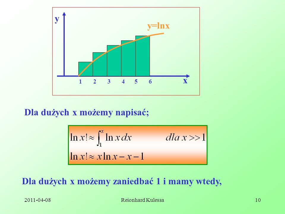 Dla dużych x możemy napisać;