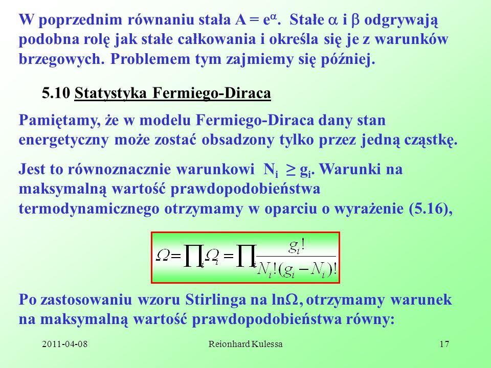 5.10 Statystyka Fermiego-Diraca