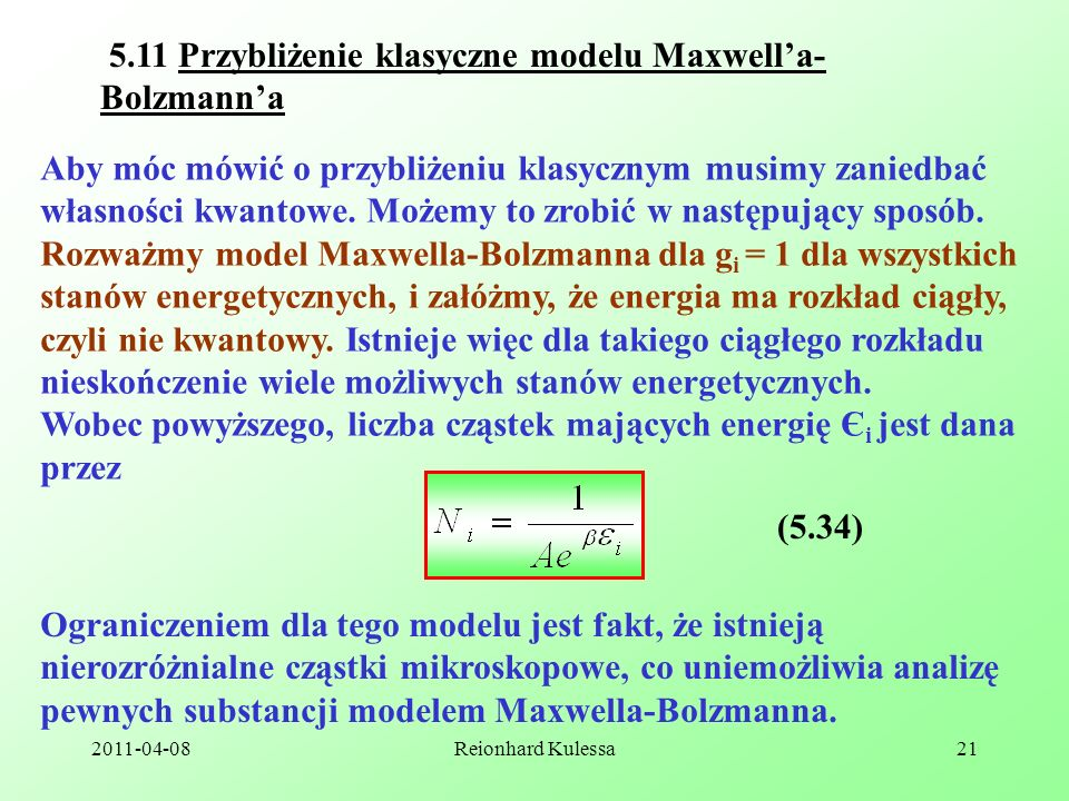 5.11 Przybliżenie klasyczne modelu Maxwell'a-Bolzmann'a