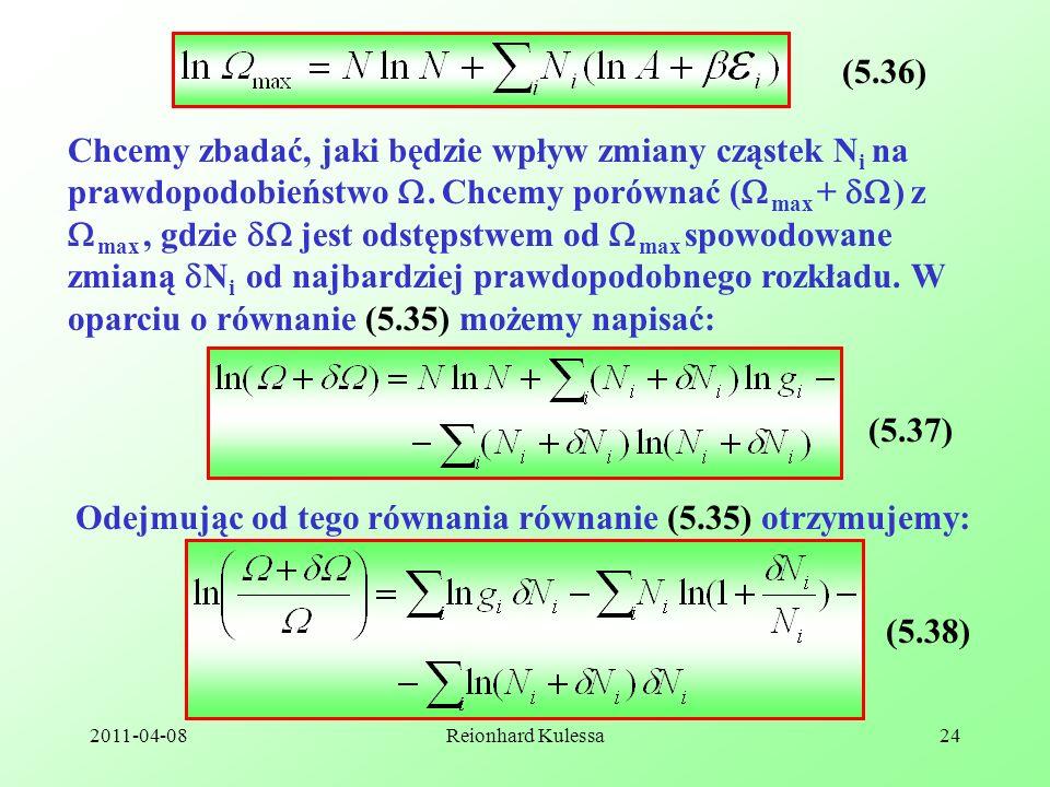 Odejmując od tego równania równanie (5.35) otrzymujemy: