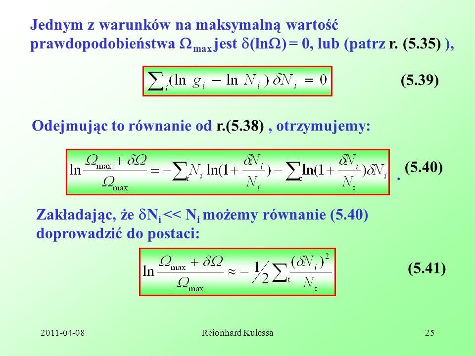 Odejmując to równanie od r.(5.38) , otrzymujemy: