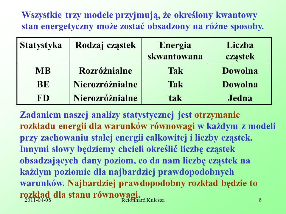 Wszystkie trzy modele przyjmują, że określony kwantowy stan energetyczny może zostać obsadzony na różne sposoby.