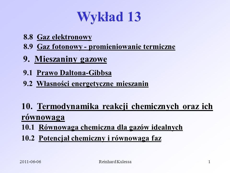 Wykład 13 9. Mieszaniny gazowe