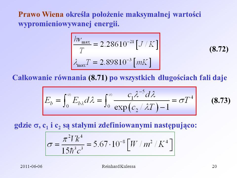 Całkowanie równania (8.71) po wszystkich długościach fali daje