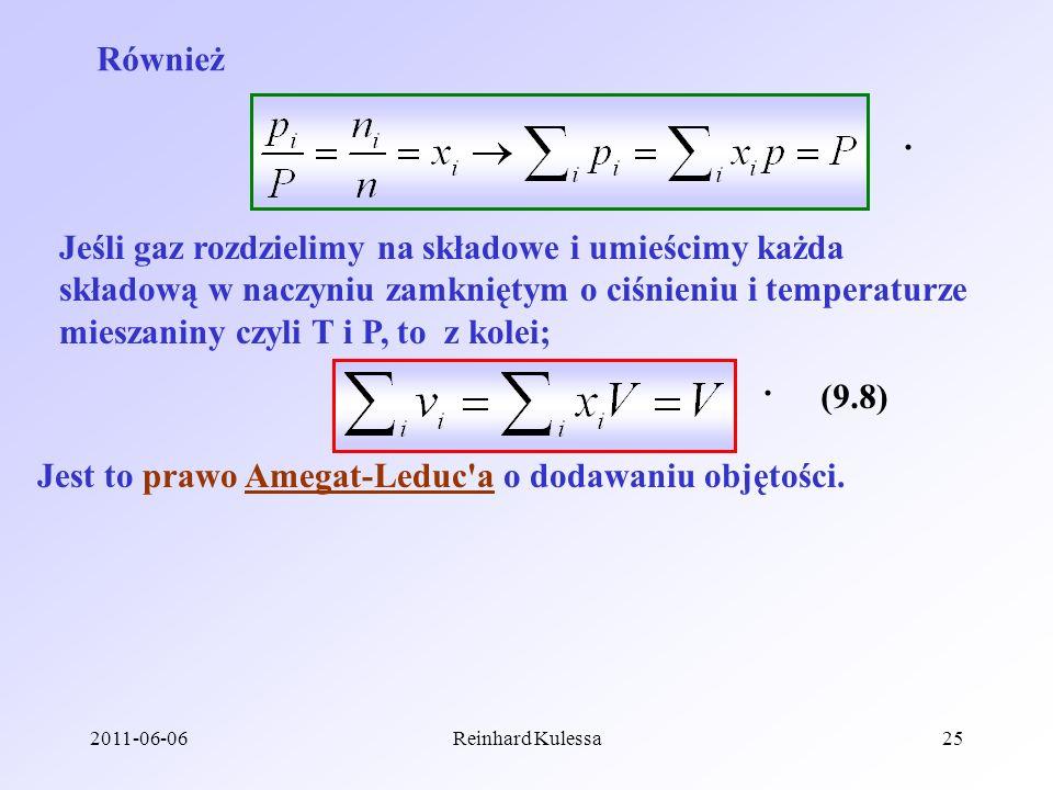 Jest to prawo Amegat-Leduc a o dodawaniu objętości.