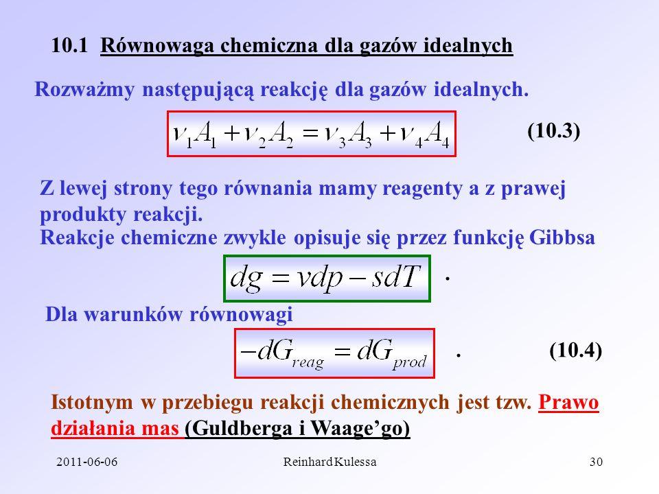 10.1 Równowaga chemiczna dla gazów idealnych