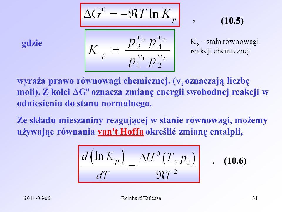 , (10.5) gdzie. Kp – stała równowagi. reakcji chemicznej.