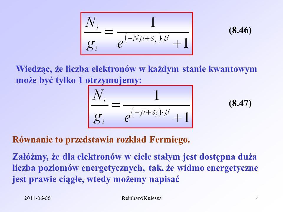 Równanie to przedstawia rozkład Fermiego.