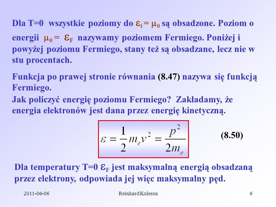 Funkcja po prawej stronie równania (8.47) nazywa się funkcją Fermiego.
