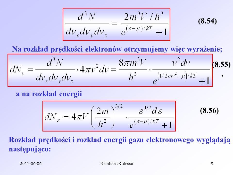 Na rozkład prędkości elektronów otrzymujemy więc wyrażenie;