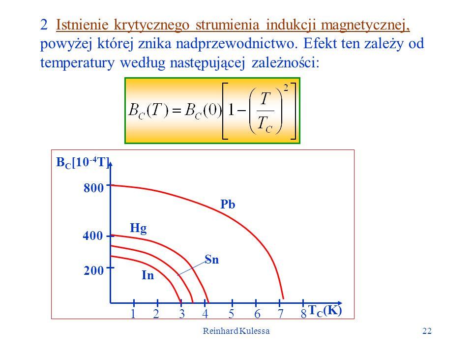 2 Istnienie krytycznego strumienia indukcji magnetycznej, powyżej której znika nadprzewodnictwo. Efekt ten zależy od temperatury według następującej zależności: