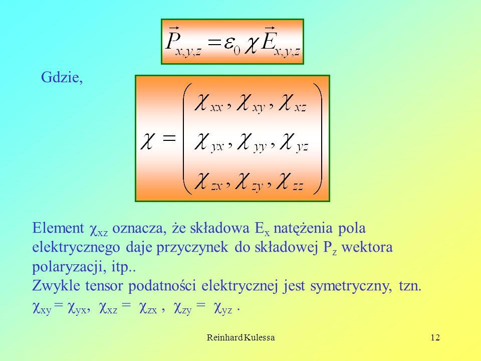 Zwykle tensor podatności elektrycznej jest symetryczny, tzn.