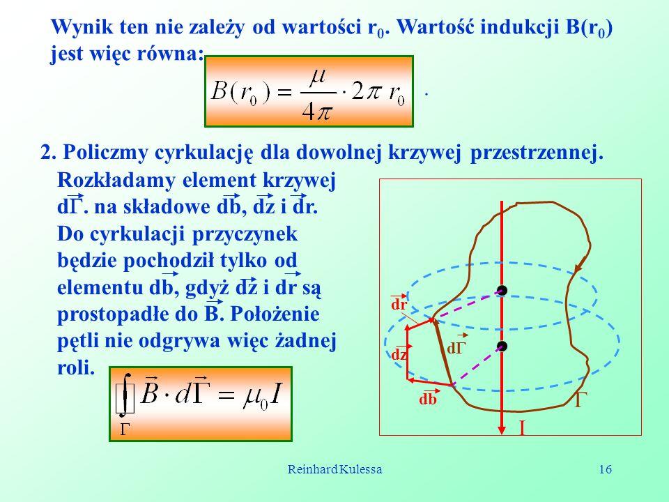 2. Policzmy cyrkulację dla dowolnej krzywej przestrzennej.