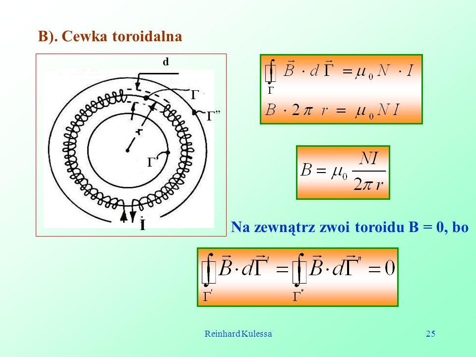 Na zewnątrz zwoi toroidu B = 0, bo