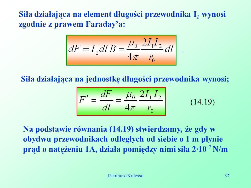 Siła działająca na jednostkę długości przewodnika wynosi;