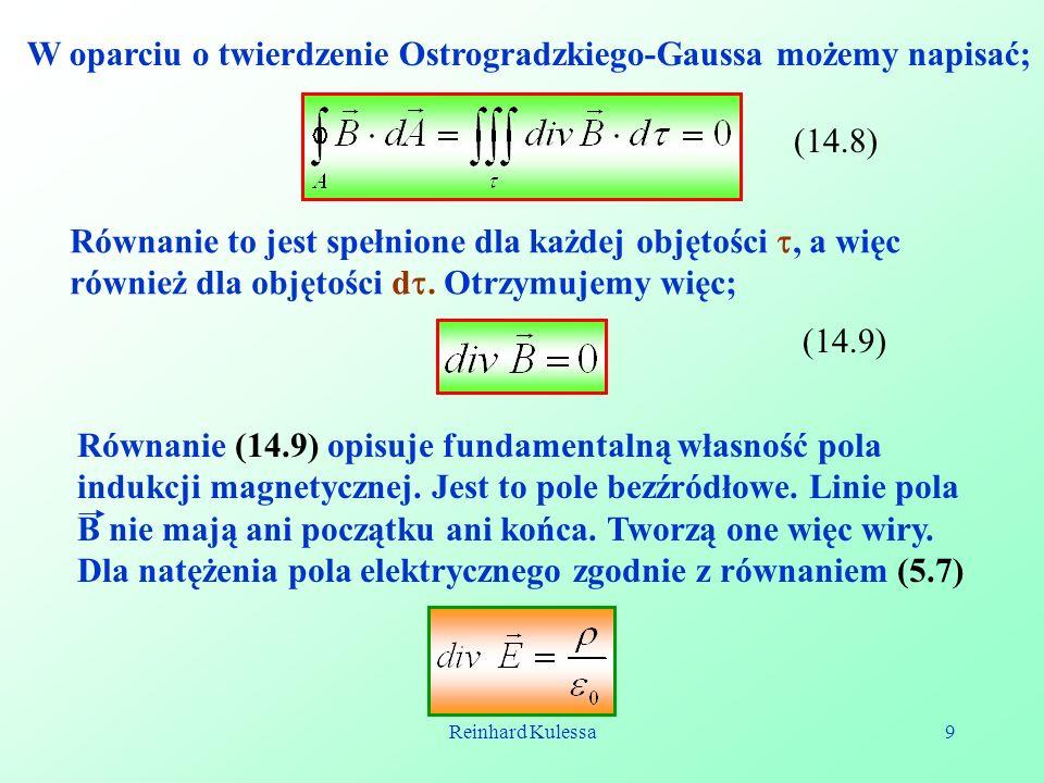 W oparciu o twierdzenie Ostrogradzkiego-Gaussa możemy napisać;