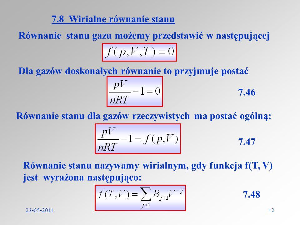 7.8 Wirialne równanie stanu