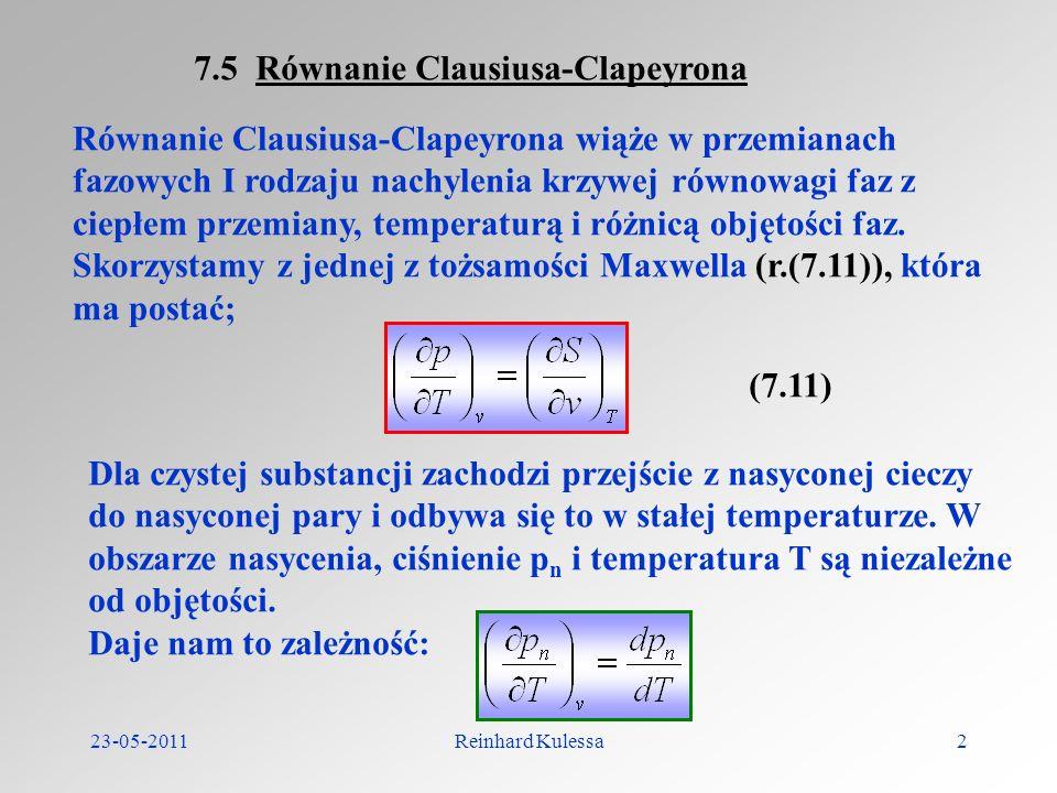 7.5 Równanie Clausiusa-Clapeyrona