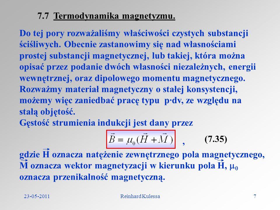 7.7 Termodynamika magnetyzmu.