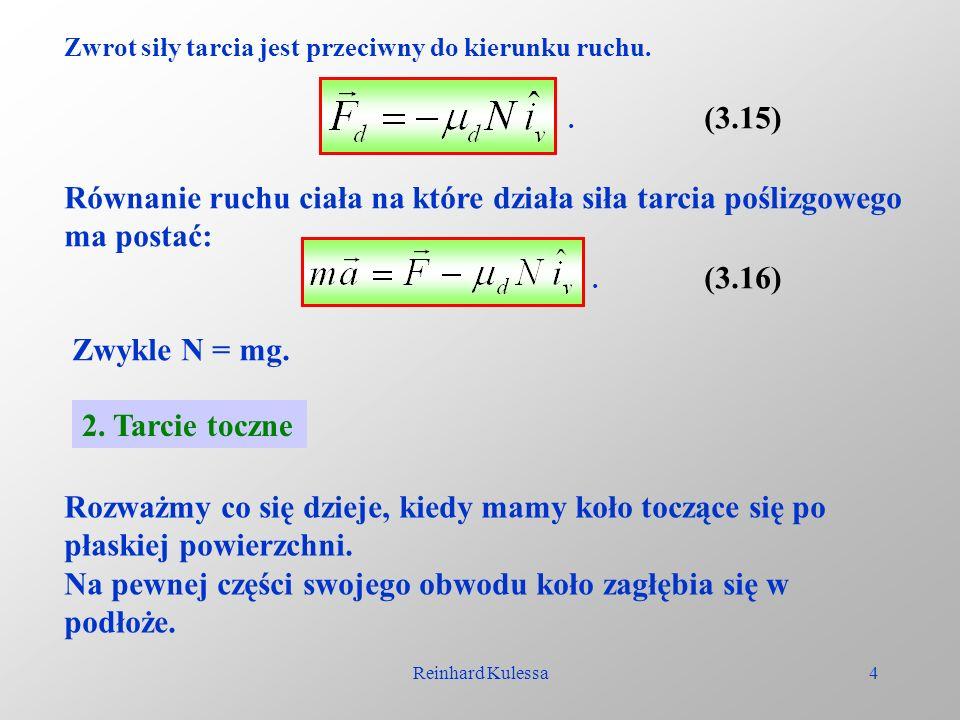 Równanie ruchu ciała na które działa siła tarcia poślizgowego
