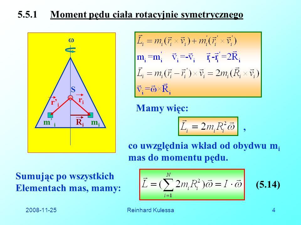 5.5.1 Moment pędu ciała rotacyjnie symetrycznego