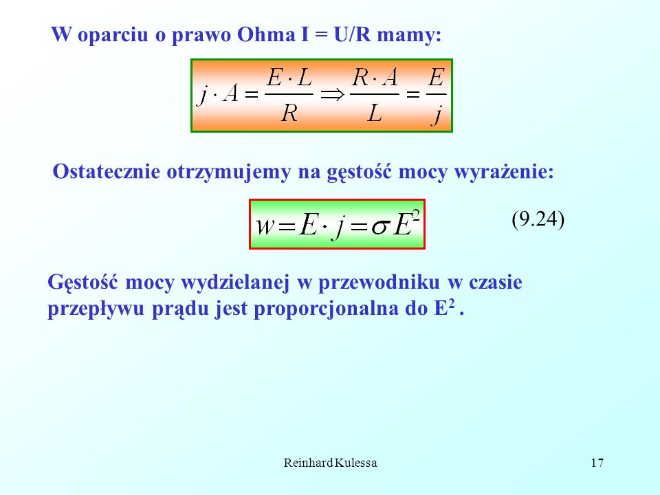 W oparciu o prawo Ohma I = U/R mamy: