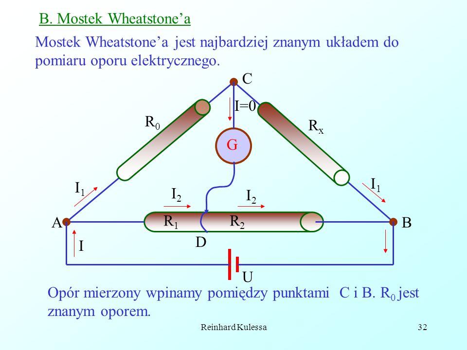 Opór mierzony wpinamy pomiędzy punktami C i B. R0 jest znanym oporem.