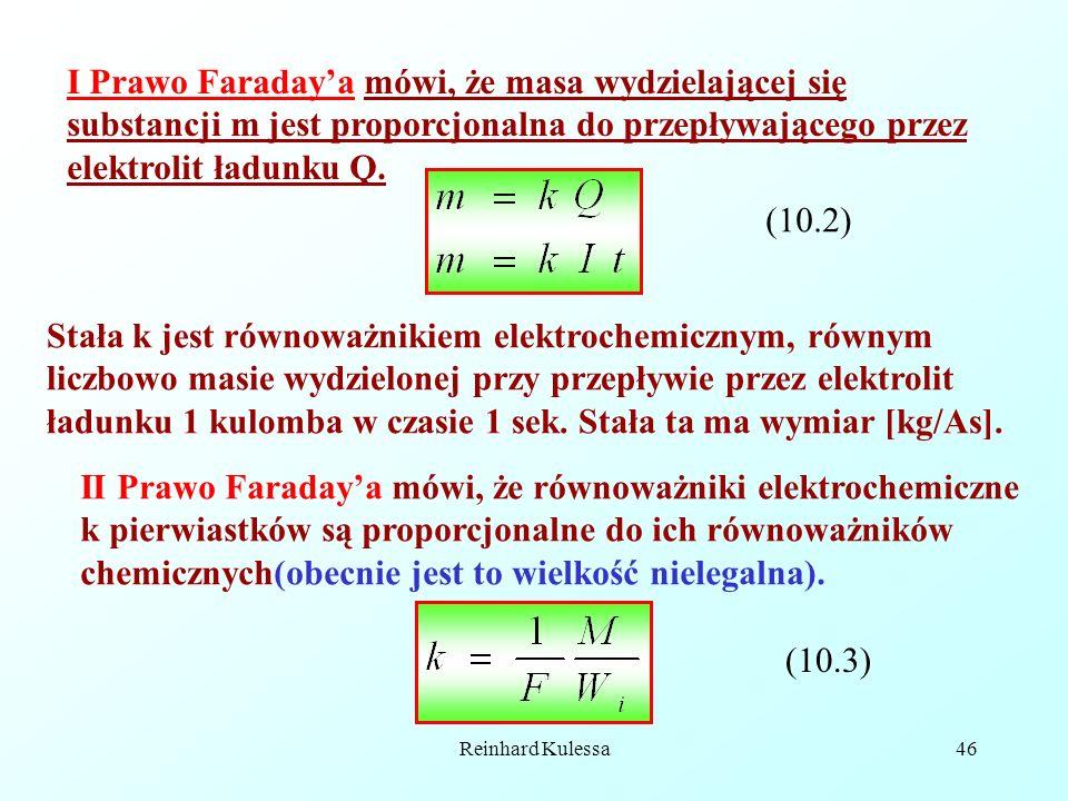 I Prawo Faraday'a mówi, że masa wydzielającej się substancji m jest proporcjonalna do przepływającego przez elektrolit ładunku Q.