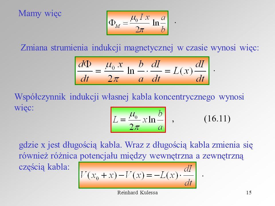 Zmiana strumienia indukcji magnetycznej w czasie wynosi więc: